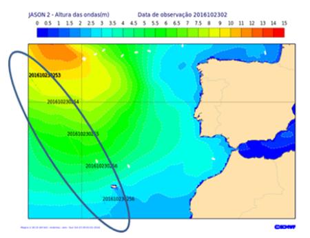 Previsão de agitação marítima forte para a Metarea II no dia 23 de outubro de 2016