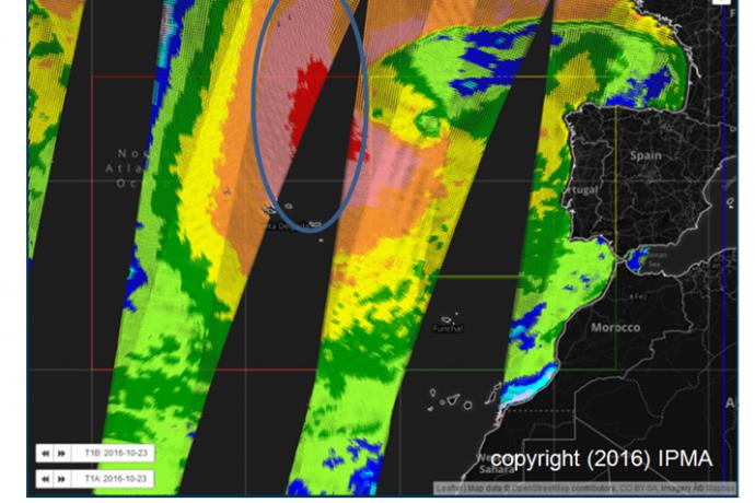 Previsão de ventos muito intensos para a Metarea II no dia 23 de outubro de 2016