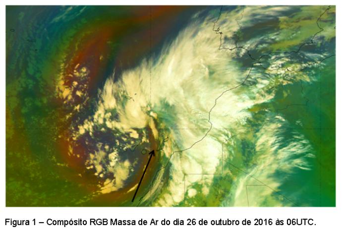 Intrusão de ar estratosférico a sul da Madeira no dia 26 de outubro de 2016