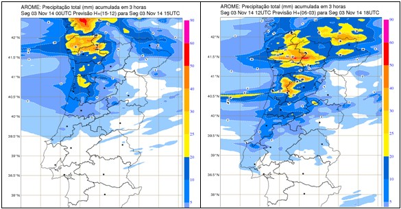 Previsão do modelo AROME da precipitação total (mm) acumulada em 3h às 15 UTC e às 18 UTC